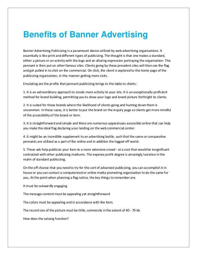 Benefits of banner advertising