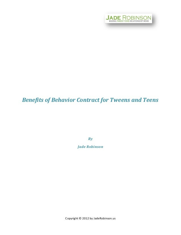 Benefits of behavior contract for tweens and teens