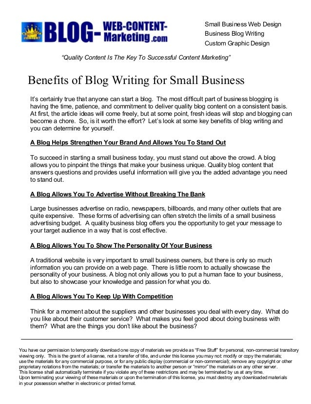 Benefits of Blog Writing for Small Business