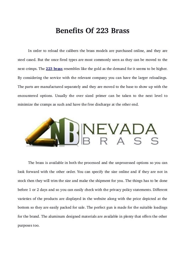 Benefits of brass - Nevadabrass.com