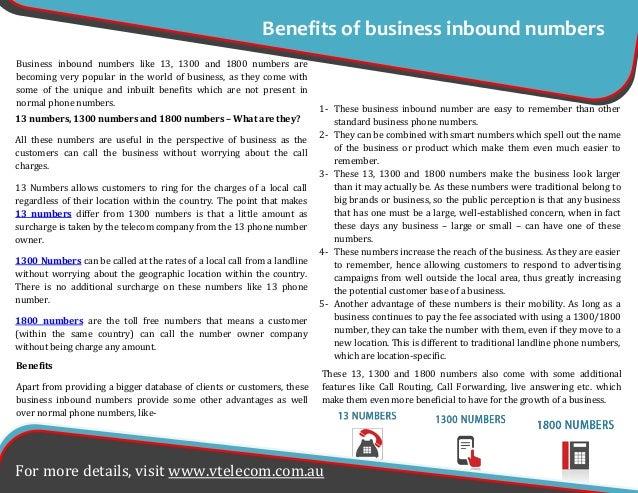 Benefits of business inbound numbers