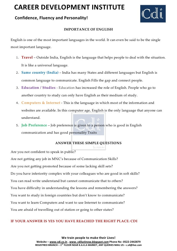 English Speaking Course Benefits - CDI Lucknow