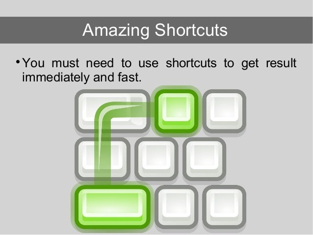 You must need to use shortcuts to get result immediately and fast. Amazing Shortcuts