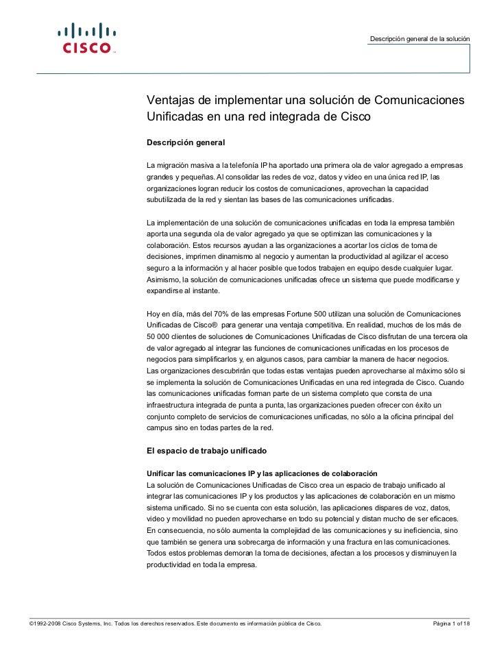 Beneficios de implementar Cisco UCOMM en una red integrada