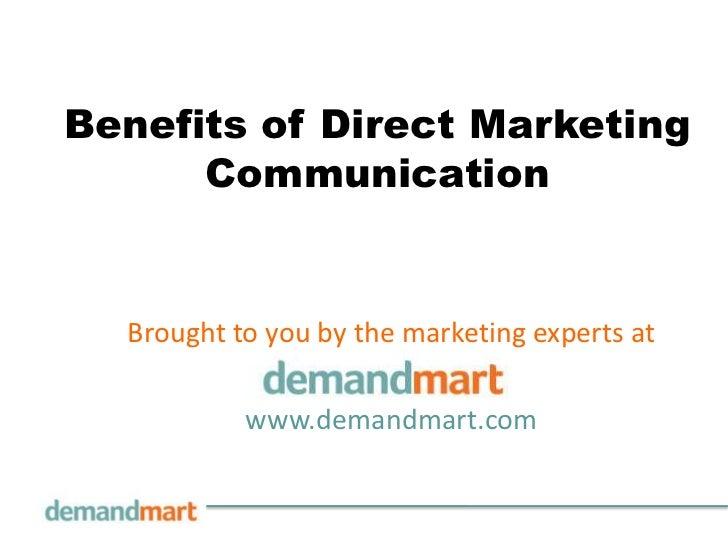 Benefits of Direct Marketing Communication