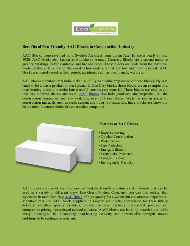 benefits of eco friendly aac blocks in construction industry aac blocks were invented by a sweden benefits eco friendly
