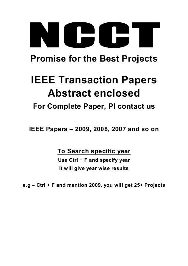 NCCTNCCTNCCTNCCTPromise for the Best Projects IEEE Transaction Papers Abstract enclosed For Complete Paper, Pl contact us ...