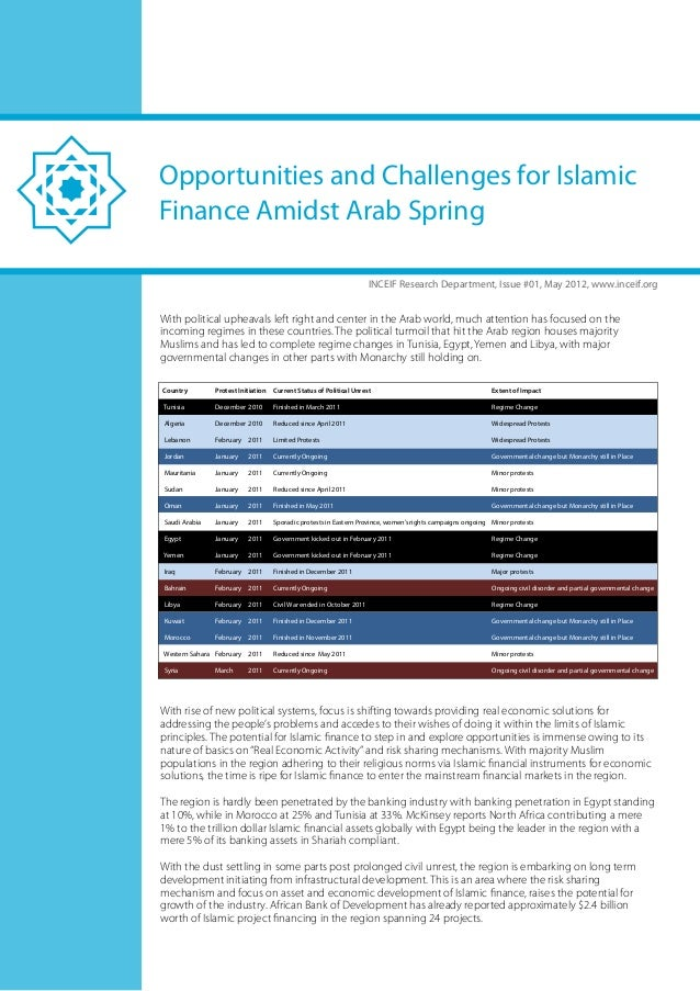 Opportunities and Challenges for IslamicFinance Amidst Arab Spring                                                        ...