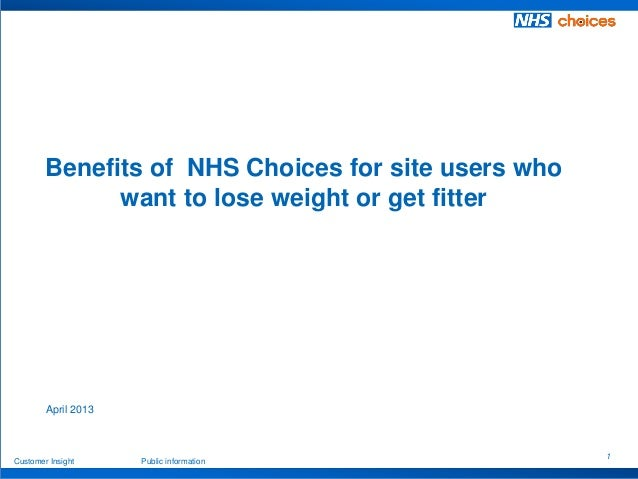 1 Customer Insight Public information April 2013 Benefits of NHS Choices for site users who want to lose weight or get fit...