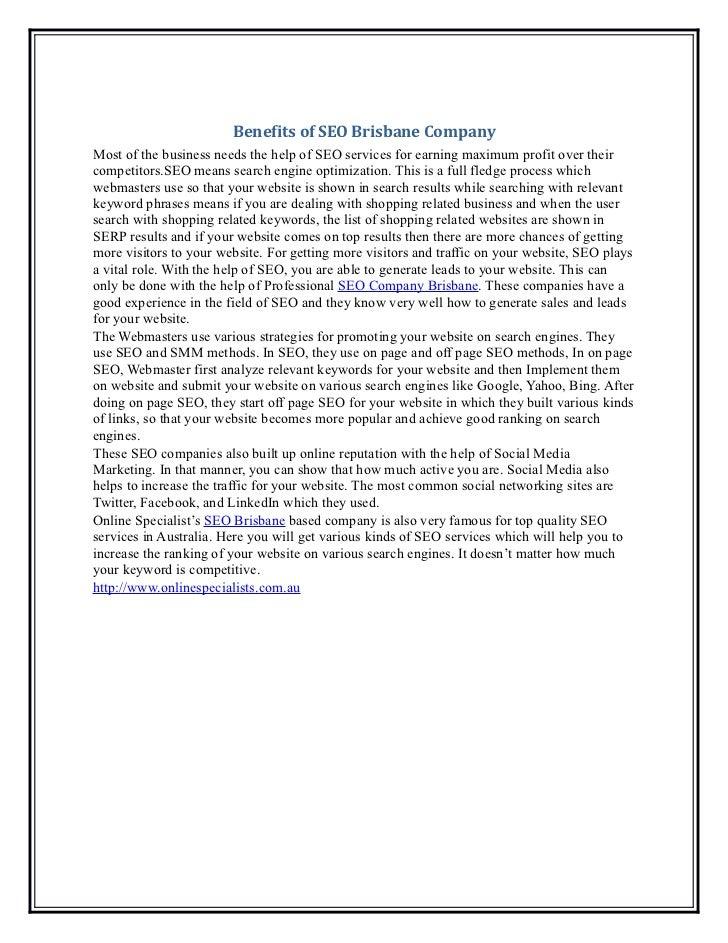 Benefits of seo brisbane company