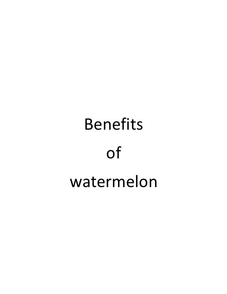 Benefits of watermelon