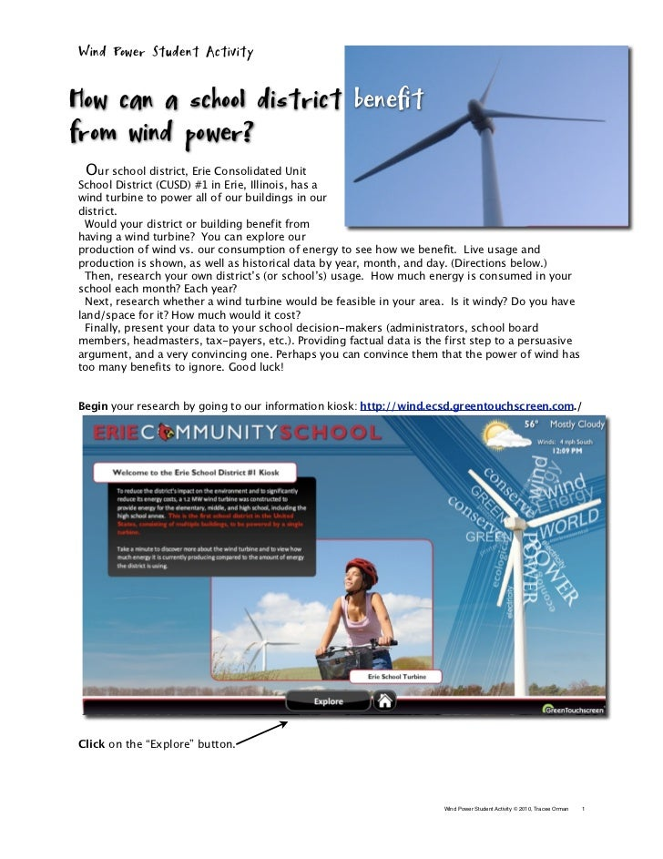 Wind Power Student ActivityHow can a school district benefitfrom wind power?  Our school district, Erie Consolidated UnitS...