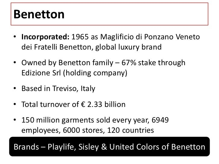 benettons corporate strategy The benetton group corporate website including a group overview, investor relations, media and press, sustainability, governance and work with us sections.