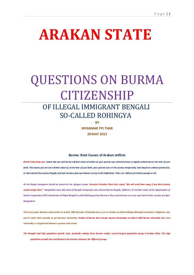 Burma (Myanmar): Bengali so-called Rohingya Citizenship Problem