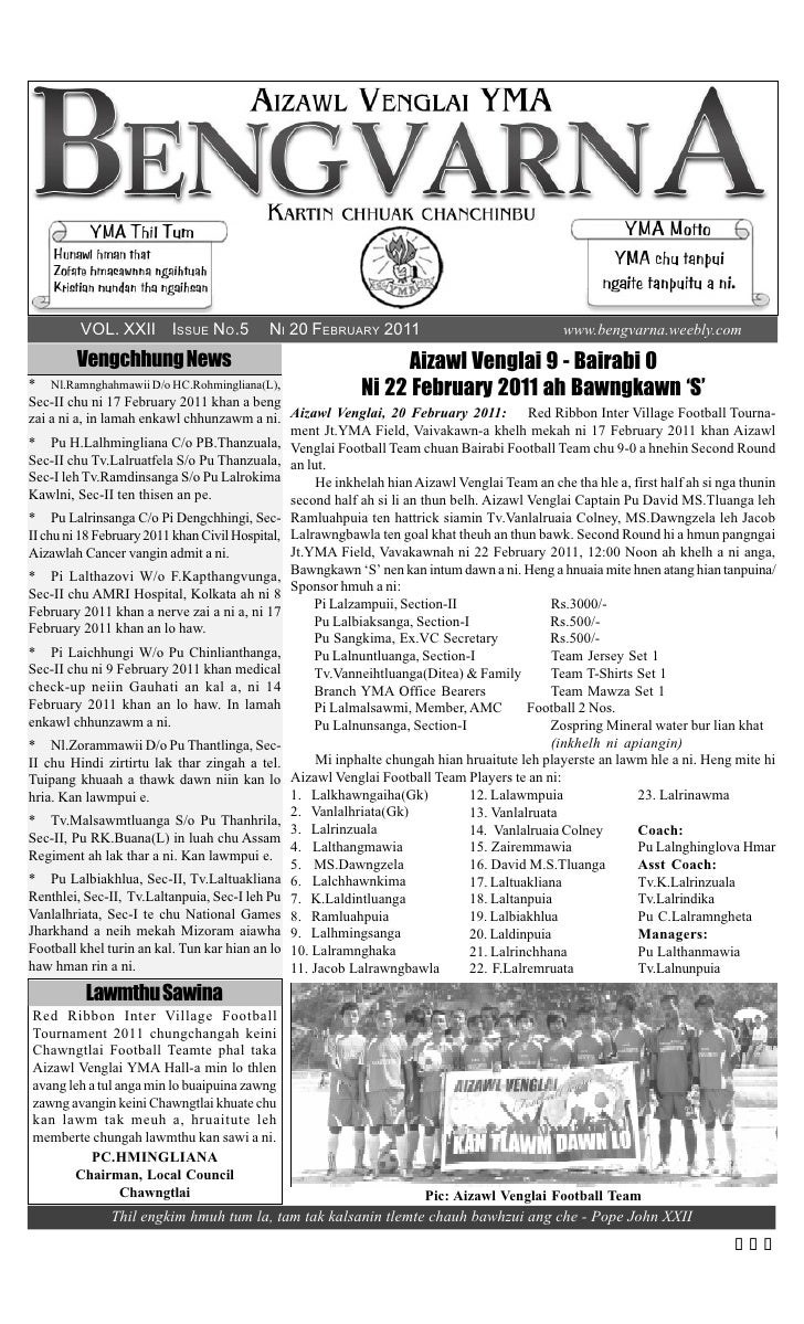 VOL. XXII ISSUE NO.5              NI 20 FEBRUARY 2011                                  www.bengvarna.weebly.com        Ven...