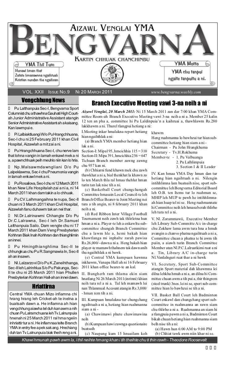 VOL. XXII ISSUE NO.9             NI 20 MARCH 2011                                 www.bengvarna.weebly.com        Vengchhu...