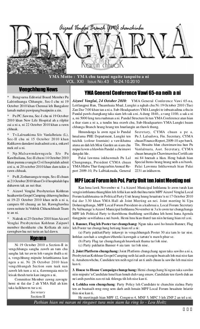 YMA Motto : YMA chu tanpui ngaite tanpuitu a ni VOL. XXI ISSUE NO.43 NI 24.10.2010 VengchhungNews * Bengvarna Editorial Bo...