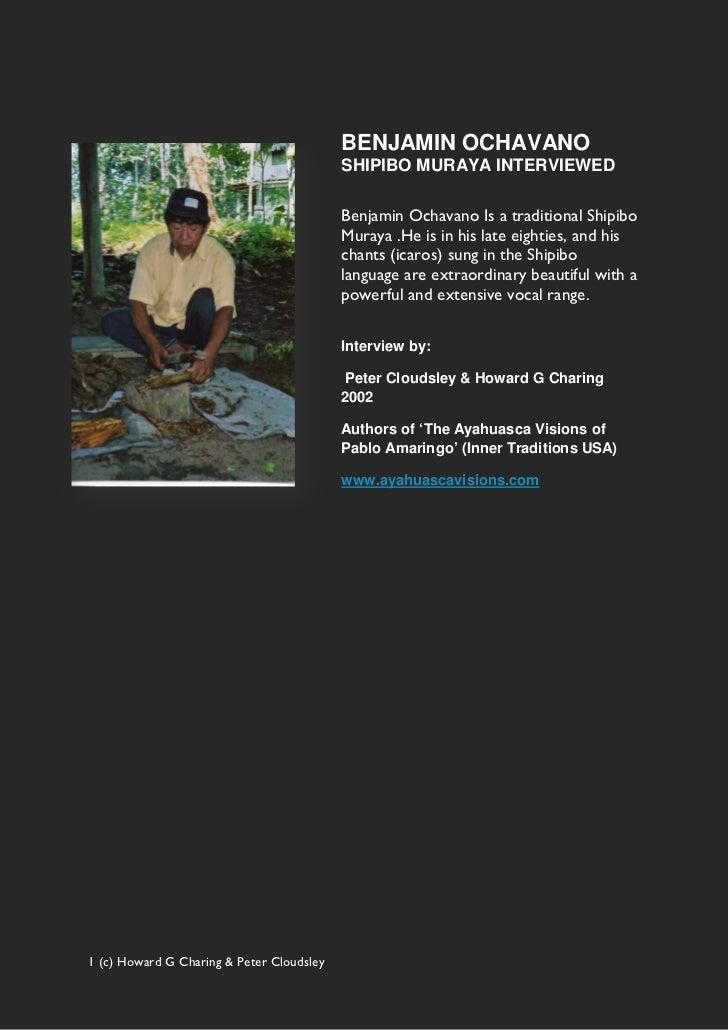 Shipibo Ayahuasca Shaman Benjamin Ochavano Interview