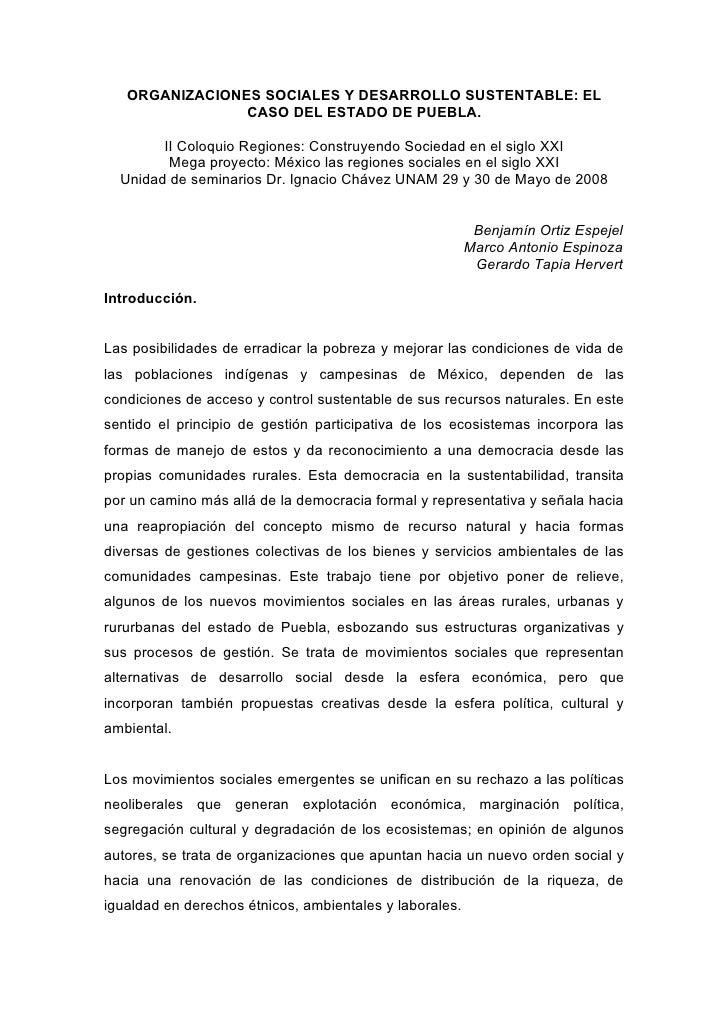 ORGANIZACIONES SOCIALES Y DESARROLLO SUSTENTABLE: EL                 CASO DEL ESTADO DE PUEBLA.          II Coloquio Regio...