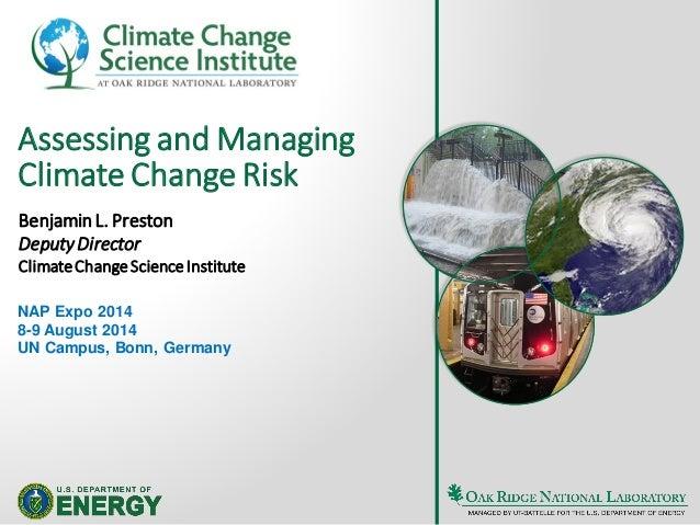 Benjamin Preston  ORNL/IPCC: Adaptation Risk Management