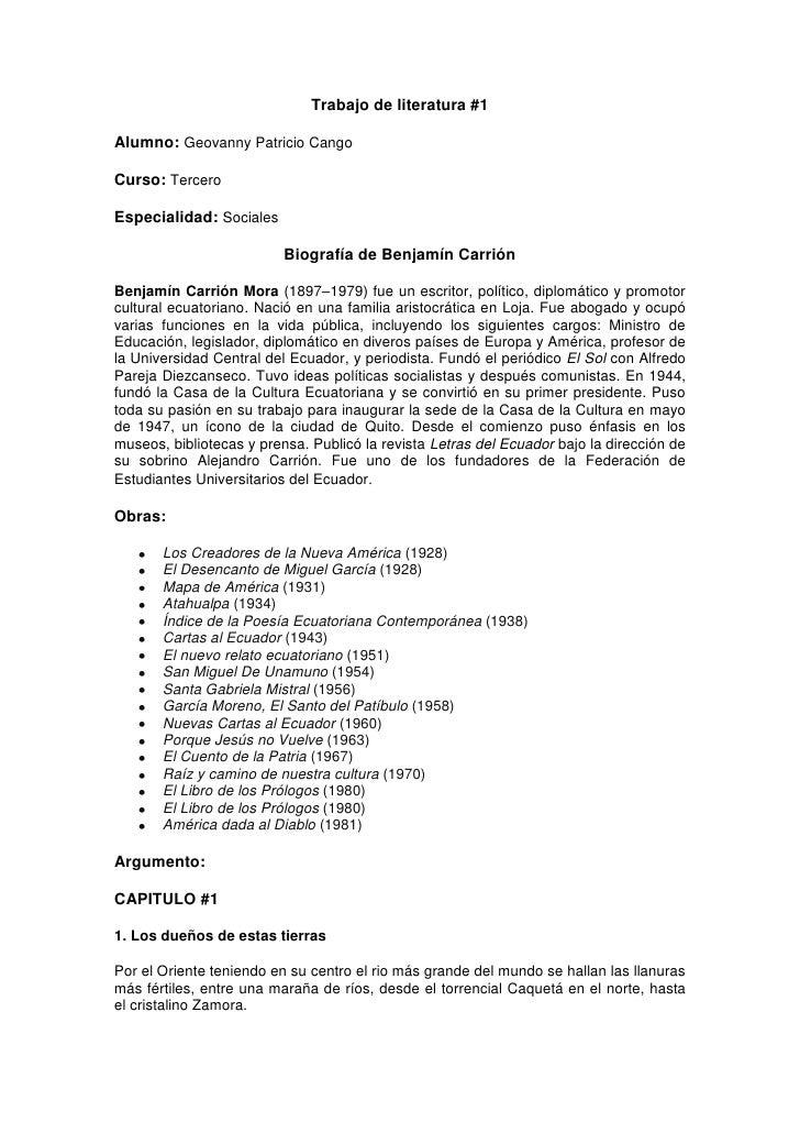 Trabajo de literatura #1<br />Alumno: Geovanny Patricio Cango<br />Curso: Tercero<br />Especialidad: Sociales <br />Biogra...