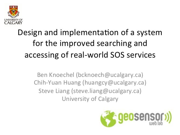 Design and implementation of a system for the improved searching and accessing of real-world SOS services
