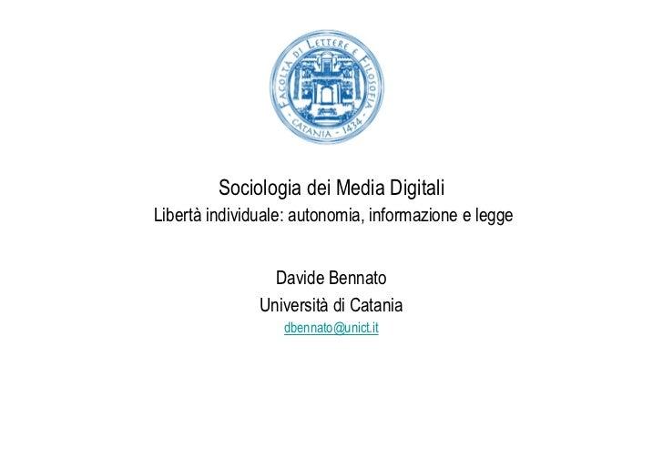 Benkler: Liberta' individuale autonomia informazione e legge