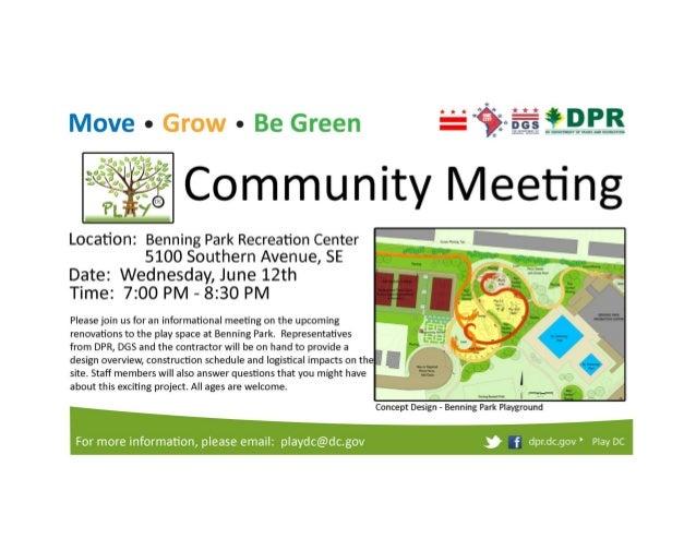 Benning Park Recreation Center - Play DC Community Meeting