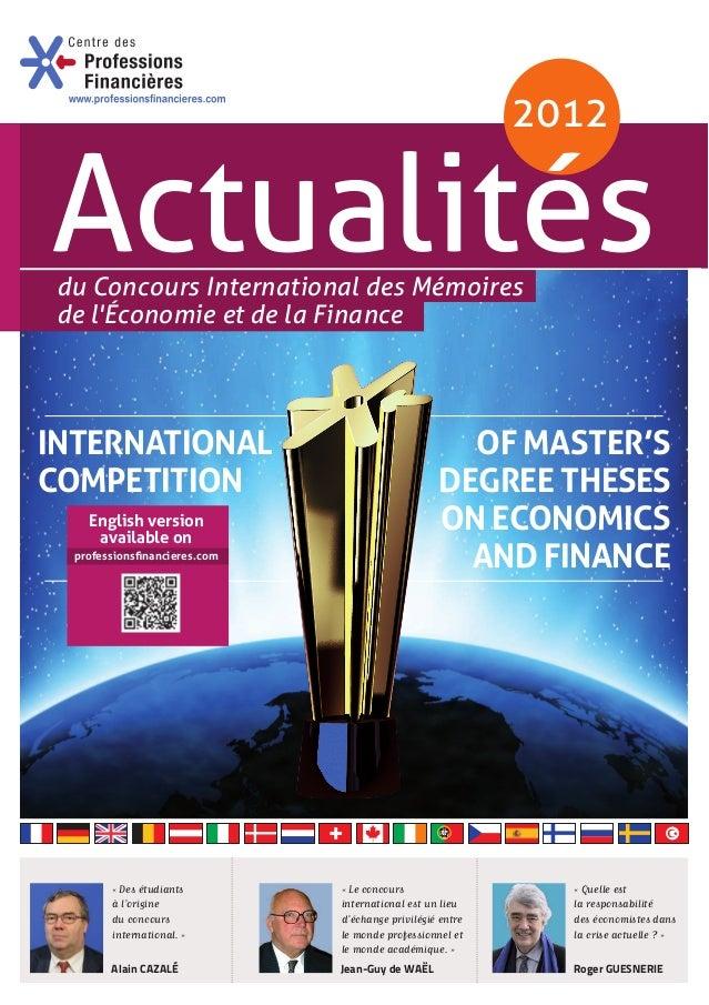 du Concours International des Mémoires de l'Économie et de la Finance Alain CAZALÉ Roger GUESNERIEJean-Guy de WAËL «Le co...