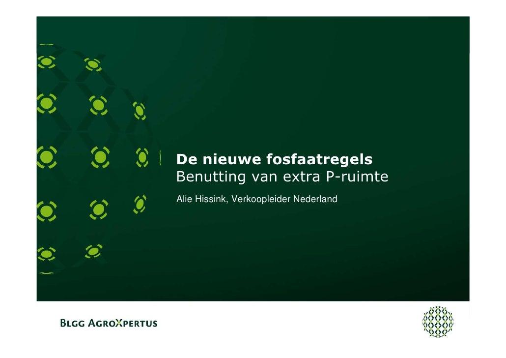De nieuwe fosfaatregels Benutting van extra P-ruimte Alie Hissink, Verkoopleider Nederland