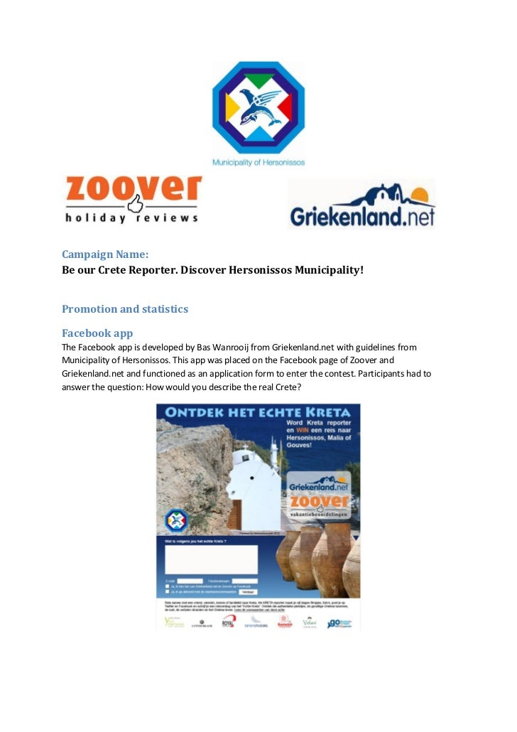 Be our Crete Reporter. Explore Hersonissos Municipality Campaign. Zoover, Griekenland.net, Promotion and statistics