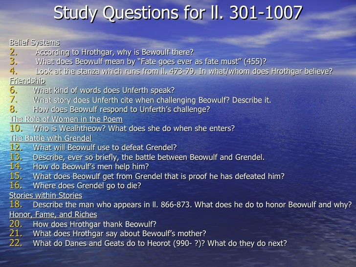 Study questions for beowulf