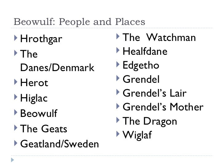 Beowulf: People and Places <ul><li>Hrothgar </li></ul><ul><li>The Danes/Denmark </li></ul><ul><li>Herot </li></ul><ul><li>...