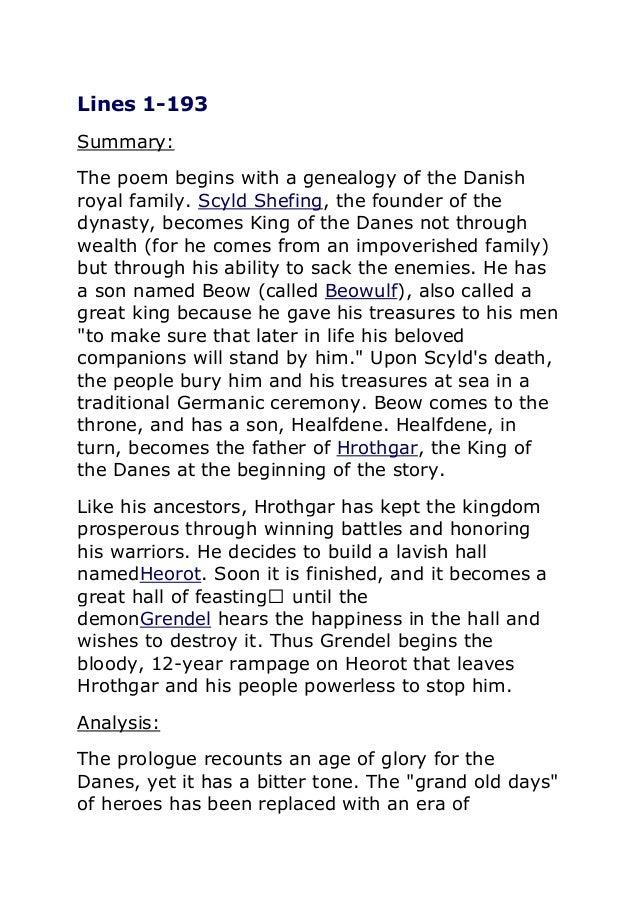 beowulf summary essay