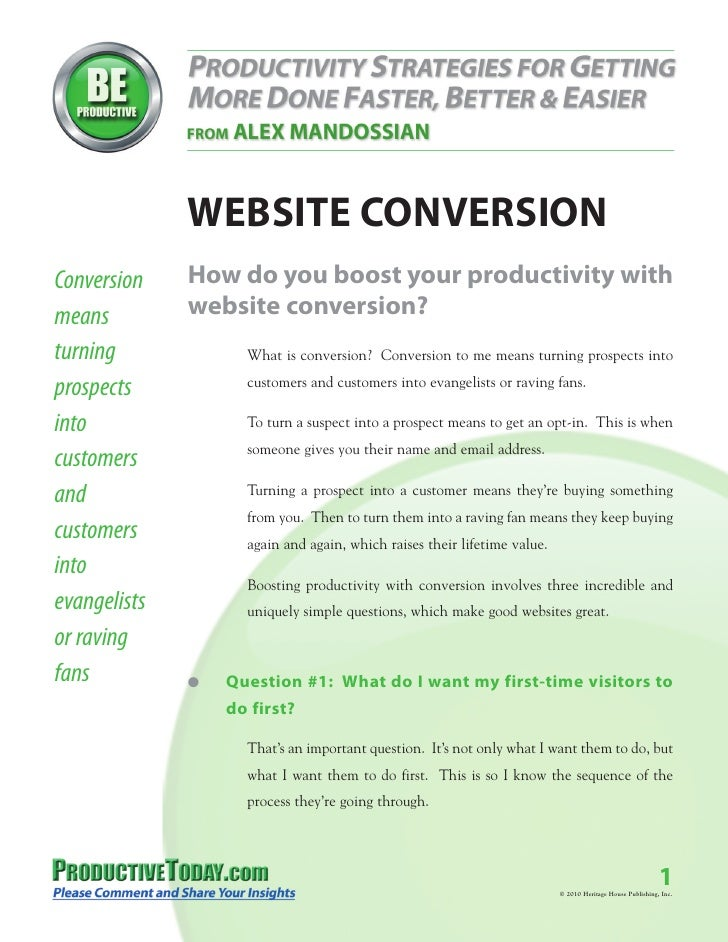 WEBSITE CONVERSIONConversion    How do you boost your productivity withmeans         website conversion?turning           ...