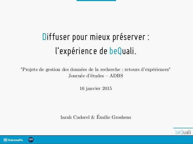 """Diffuser pour mieux préserver : l'expérience de beQuali. """"Projets de gestion des données de la recherche : retours d'expér..."""