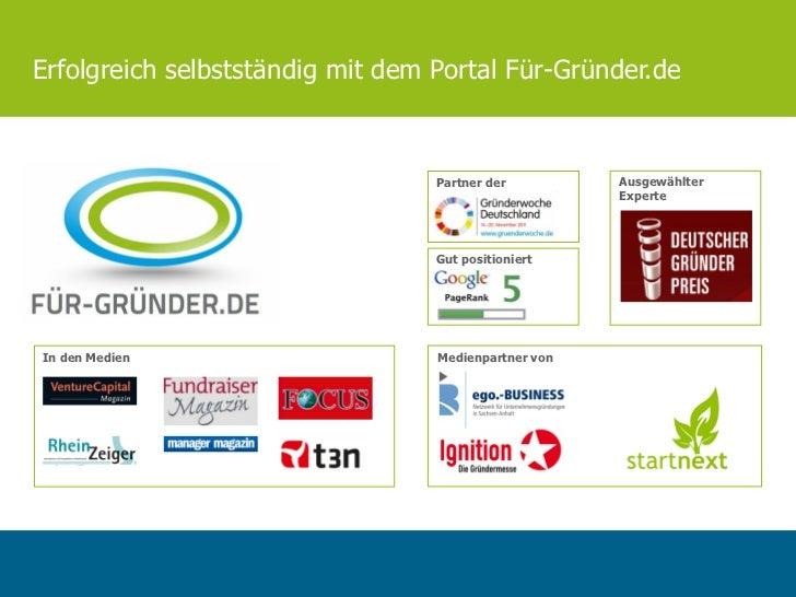 Erfolgreich selbstständig mit dem Portal Für-Gründer.de                                  Partner der         Ausgewählter ...