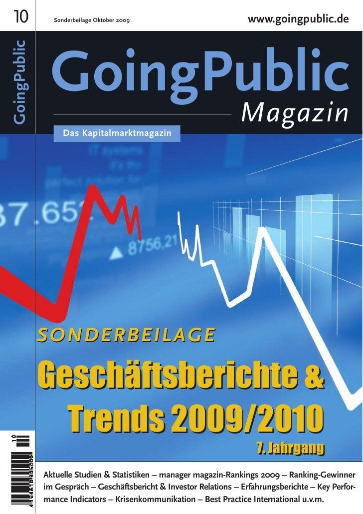 10 GoingPublic     Sonderbeilage Oktober 2009                            www.goingpublic.de                    GoingPublic...