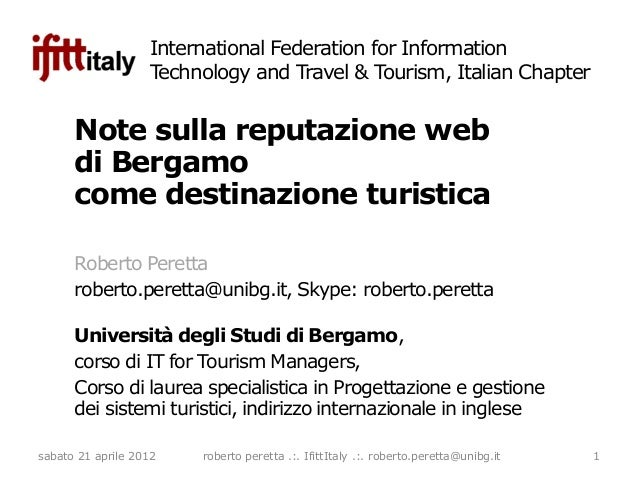 International Federation for Information                   Technology and Travel & Tourism, Italian Chapter      Note sull...