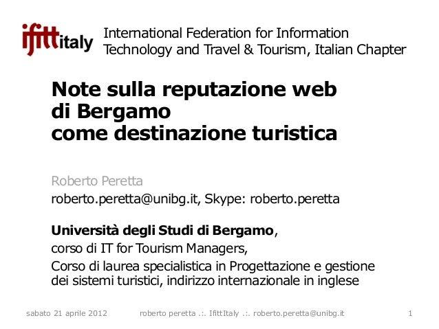 Note sulla reputazione web di Bergamo come destinazione turistica