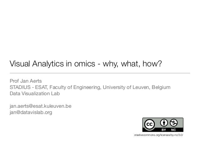 Visual Analytics in omics - why, what, how? Prof Jan Aerts STADIUS - ESAT, Faculty of Engineering, University of Leuven, B...