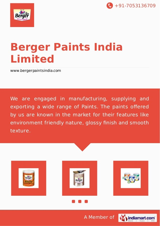 market study of berger paints bangladesh limited Berger paints bangladesh limited is by far the largest player in the country's paint industry the paint industry in bangladesh is estimated to be around bdt 8 billion in terms of sales volume, berger controls more than 56% of the market share with bdt 45 billion net sales asian paints.