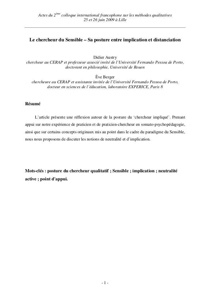 Actes du 2ème colloque international francophone sur les méthodes qualitatives                                  25 et 26 j...