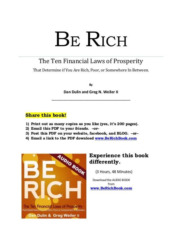 Be Rich : The Ten Financial Laws of Prosperity