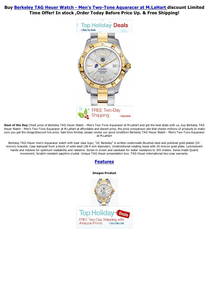 Buy Berkeley TAG Heuer Watch - Mens Two-Tone Aquaracer at M.LaHart discount Limited           Time Offer! In stock ,Order ...