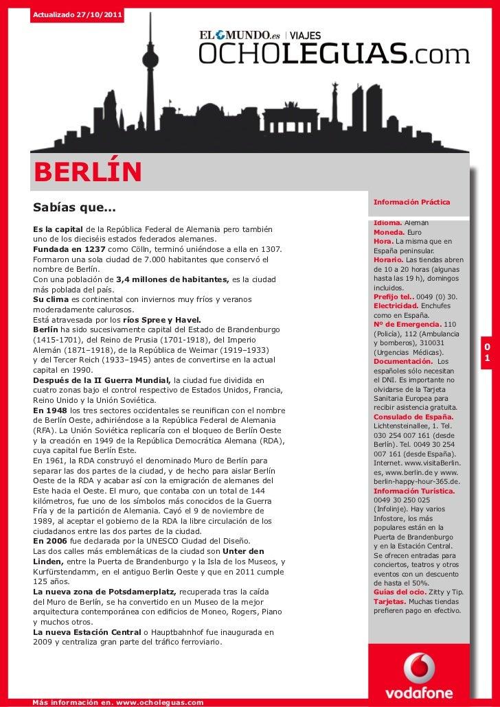 Actualizado 27/10/2011BERLÍN                                                                      Información PrácticaSabí...
