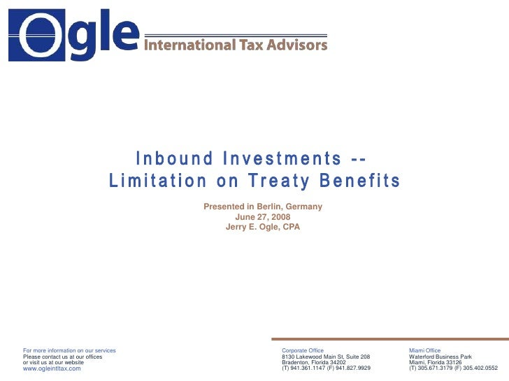Inbound Investments - Limitation on Treaty Benefits Germany