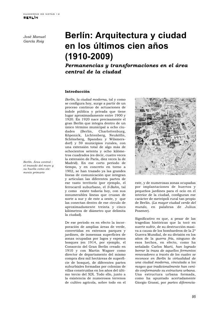 CUADERNO DE NOTAS 12BERLÍNJosé ManuelGarcía Roig                         Berlín: Arquitectura y ciudad                    ...