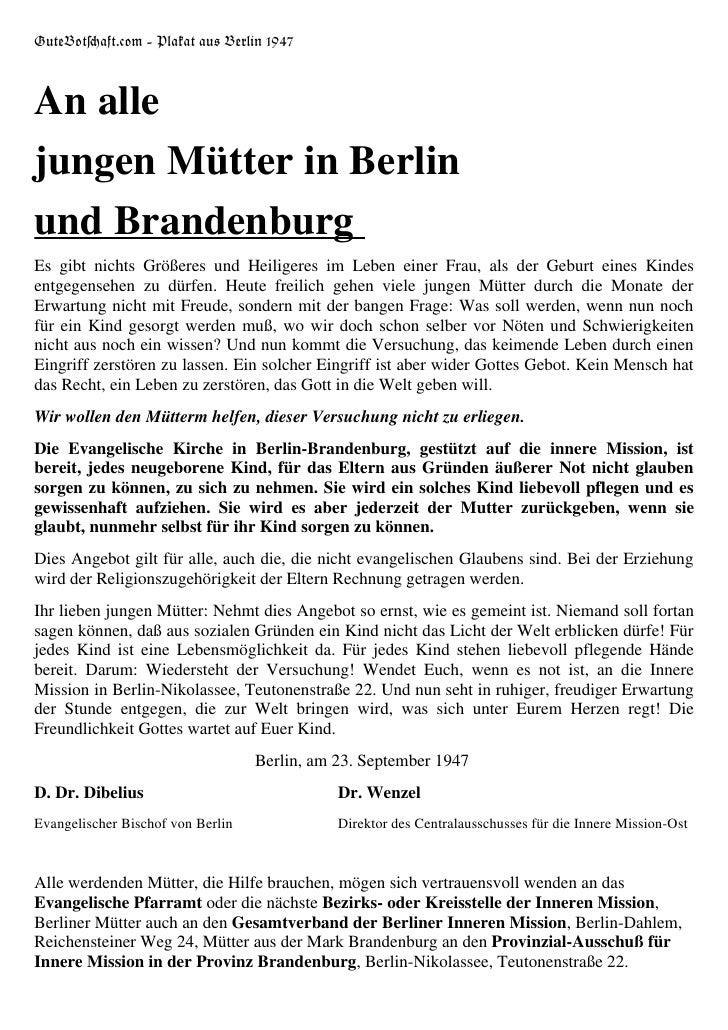 Lebensrecht: Plakat aus Berlin 1947
