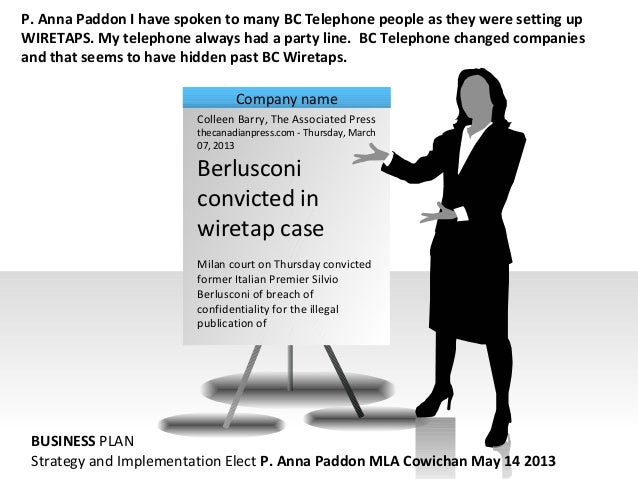 P. Anna Paddon I have spoken to many BC Telephone people as they were setting upWIRETAPS. My telephone always had a party ...
